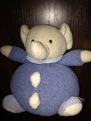 Plüschtier Kuscheltier Schlenker Elefant Rassel Klapper Baby Fehn Blau Creme