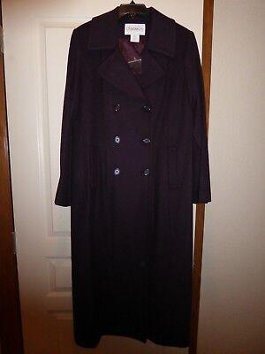 NWT Chadwicks Women's Size 10 Wool Long Car Breasted Coat Eggplant Purple (Lined Long Coat)