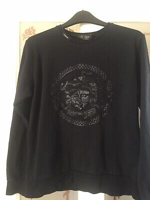 mens versace jumper Black Embroidered In Leather
