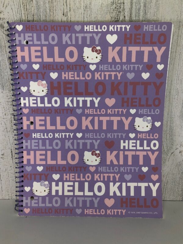 Hello Kitty Sanrio Three Ring Spiral Notebook 70 Sheets Wide Ruled 2007