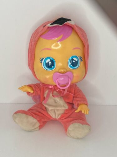"""🍊 Cry Babies """"FANCY"""" FLAMINGO Baby Doll Interactive Cries Tears & sound EUC H3"""