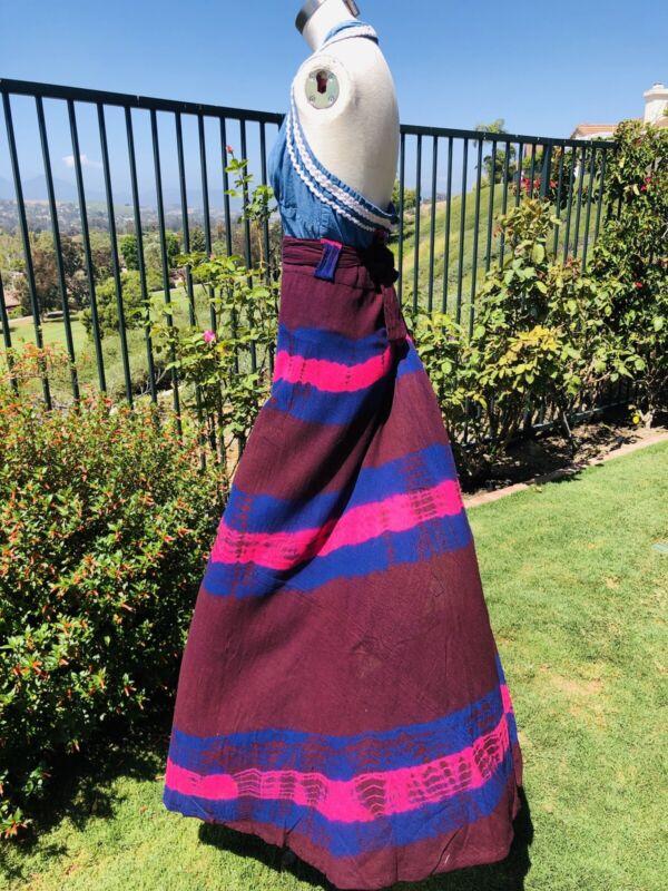Vintage 1970s  Cotton Wrap Maxi Skirt Tie Dye Medium Multicolor.