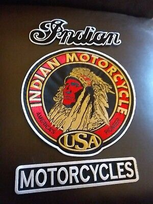 vintage collectable INDIAN MOTORCYCLE patchs xxl 3 piece back set