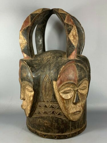 201022 - Large Old Tribal used African Helmet mask from the Lega Bwami - Congo.
