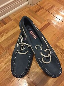 New pair of Men's shoes. Blue suede.