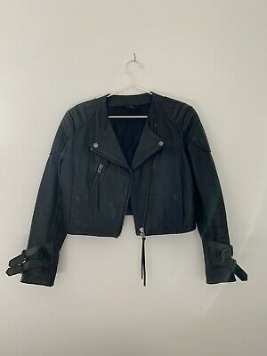 ACNE STUDIOS Black Biker Leather Jacket Eagle