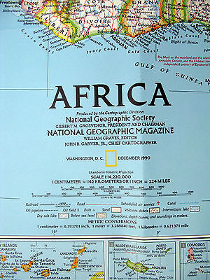 Africa 1990 / Africa Threatened National Geographic Map / Poster Dec 1990