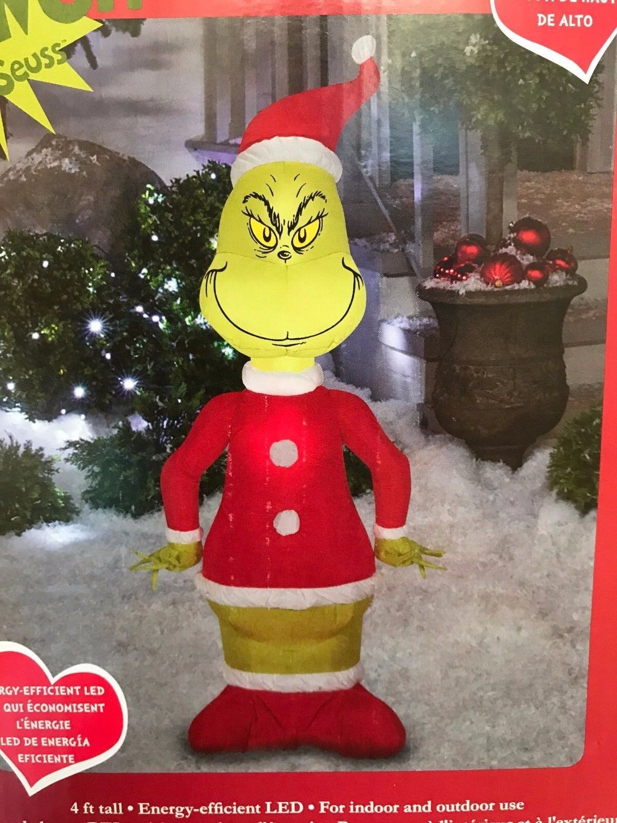 Gemmy Christmas 4' Green Grinch Lighted Airblown/inflatable Yard Decoration