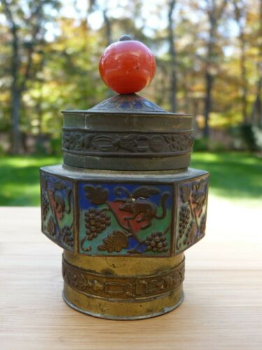 Antique Chinese Brass Champleve Tea Caddy