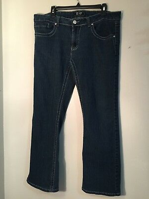 - ZIP - Blue Stretch Denim Boot Cut Jeans w/ Design on back pockets Size 19/20