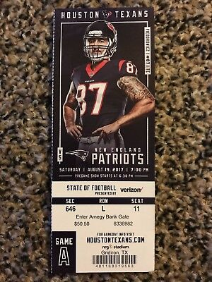 2017 HOUSTON TEXANS VS NEW ENGLAND PATRIOTS TICKET STUB 8/19 FIEDOROWICZ