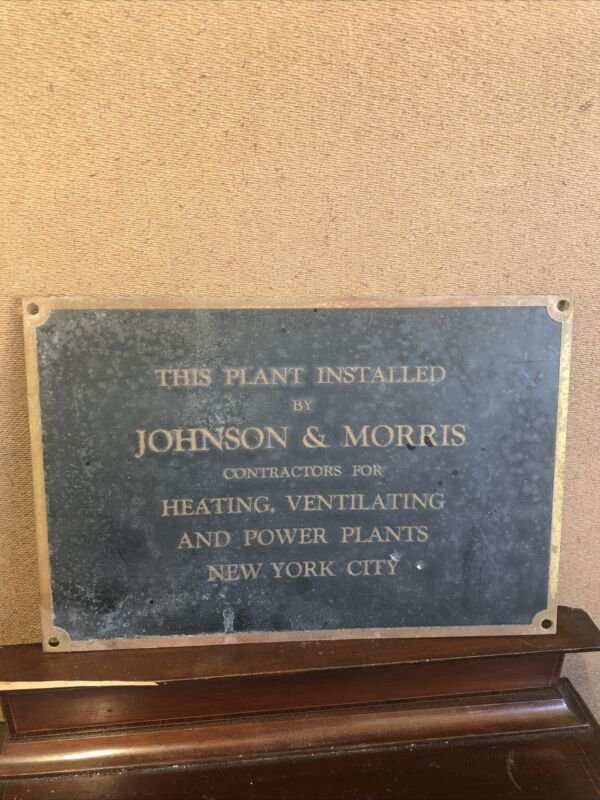 Antique Johnson And Morris New York City Brass Sign