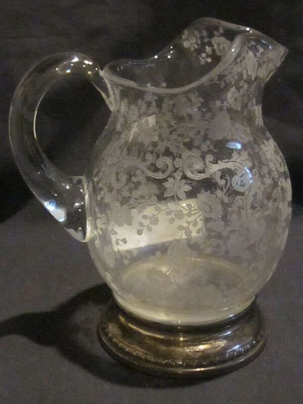Cambridge Chantilly Milk Pitcher with Sterling Base