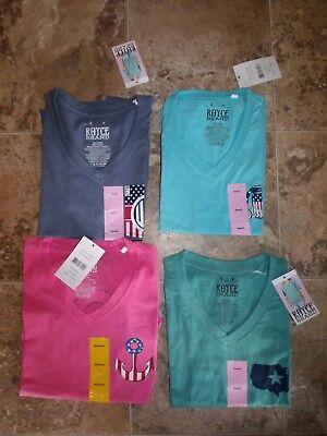 New Womens Royce Brand V-Neck T-Shirt Green Blue Seafoam Lagoon Pink America USA America Womens V-neck T-shirt