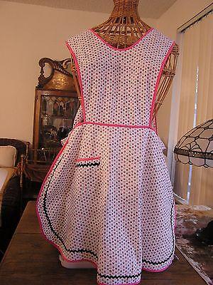 Cottage Vintage Bib Apron, H Back, Pretty Pink/Gray/Black 50's Print Rick Rack