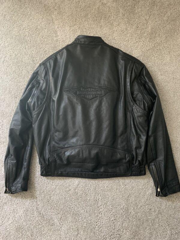 Black Harley Davidson 100% Leather Jacket Size Large Motorcycle American Womens