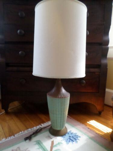 ATOMIC! MID CENTURY DANISH MODERN GREEN STRIPED POTTERY LAMP 50S BLING
