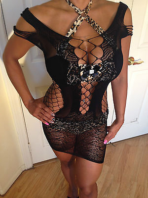 Sexy Black See Thru Unique Fishnet Mesh Design Low back Bikini Cover Up  L-XXL
