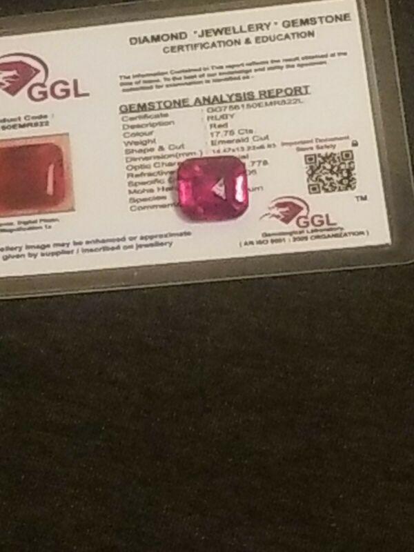 NATURAL CERTIFIED GEM TESTED LARGE RED RUBY 17.75 CARATS