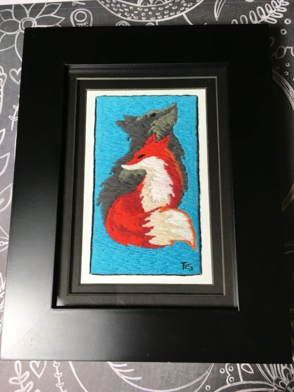"""Fox And Wolf Handmade Embroidery Black Wooden Frame Matted Under Glass 7""""x9"""""""