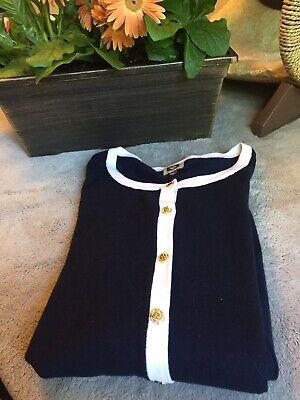 ANNE KLEIN Cardigan Sweater Top Gold Lion Buttons Navy White XL
