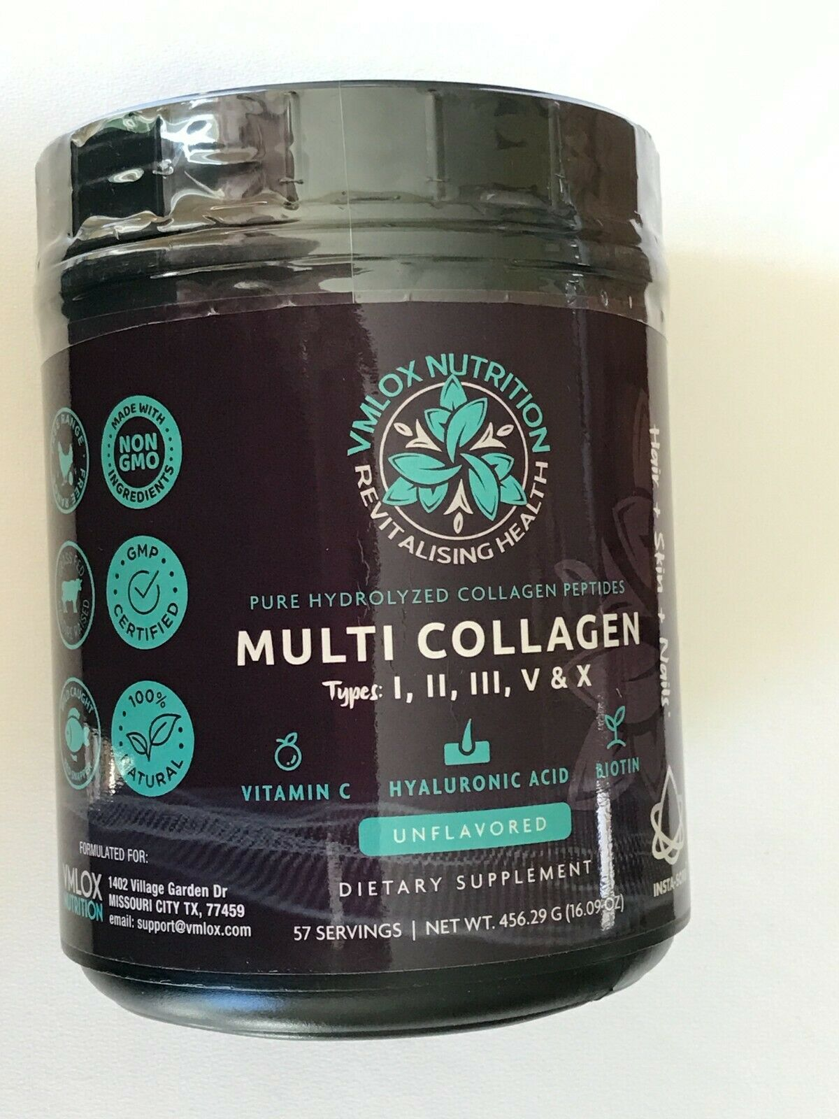 Multi Collagen Unflavored Powder l ll lll V X Vitamin C Hyaluronic Acid Biotin