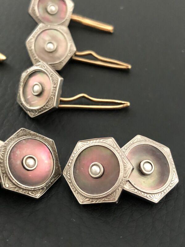 Art DECO Gold Plated Tuxedo Cufflinks STUD Set Gray MOP Abolone W Seed Pearl 7pc