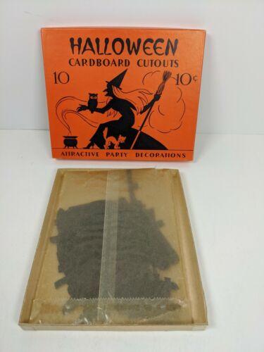 Antique Box Halloween Dennison Beistle Bat Cat Witch Punch Diecuts Glassine NR