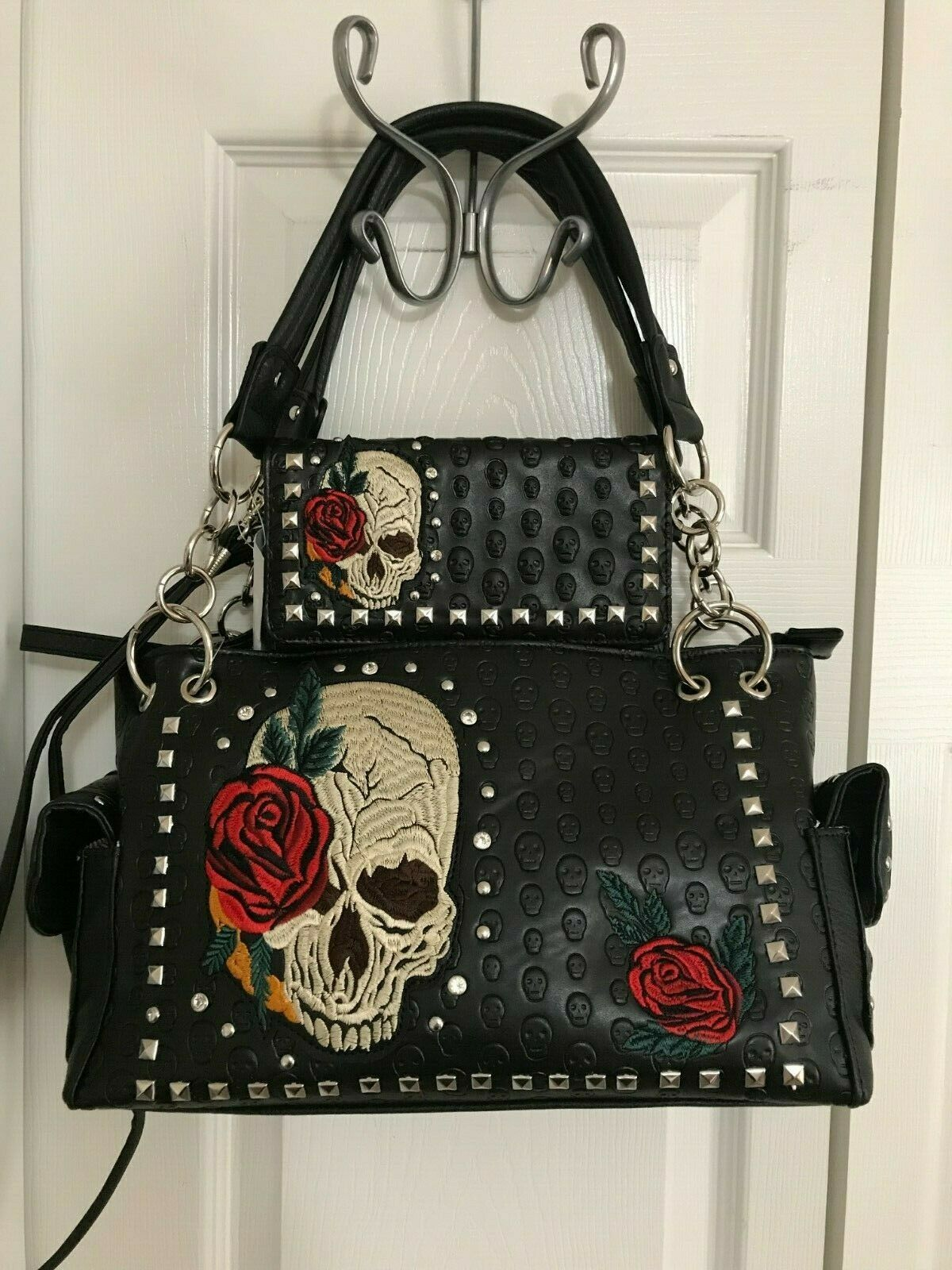 sugar skull with roses concealed carry handbag