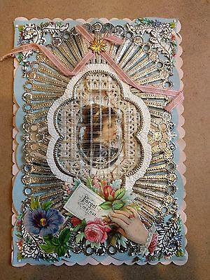 """#Original 1800's Victorian Lace Paper Card """"Forget me Not"""" 4 x 6"""""""