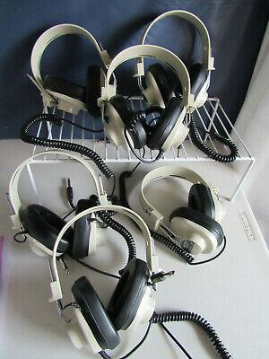 Vtg. LOT OF 6 TESTED Califone 2924AV-P Over The Ear Mono Headphones Coiled Cord