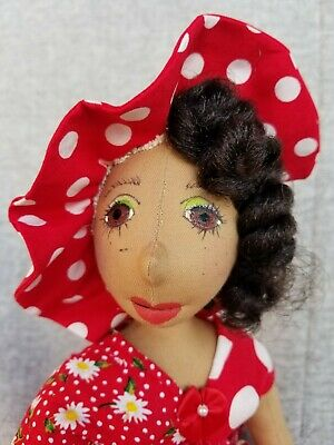 Gabrielle- Shady-ladies-handmade-doll-red-polka-dots-with-hat
