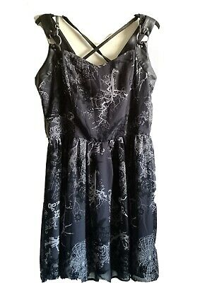 Spin Doctor Goth Dress Size L Web Cogs Faux Leather Buckle Steampunk
