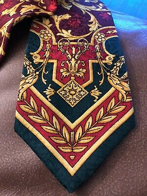Gianni Versace Vintage 90s Maroon Gold Green Baroque 100% Silk Tie Made In Italy