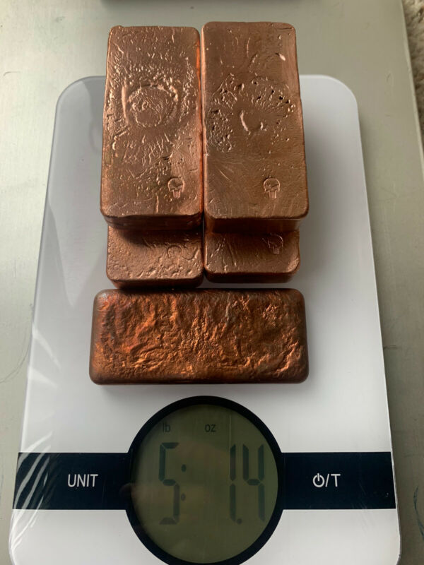 5lbs hand poured copper ingots 5lbs of bars. Bullion