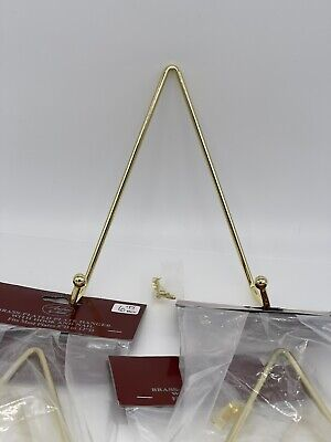 """Set Of 5 Brass-Plated Plate Hanger, Fits Plates 8"""" to 12"""", Andrea by Sadek, NIP"""