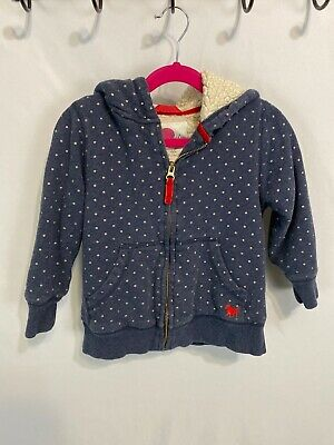 Girls Sherpa Lined Jacket (Mini Boden Girls 5-6Y Blue W. Gold Dots Sherpa Lined Hooded Cotton/ Poly)