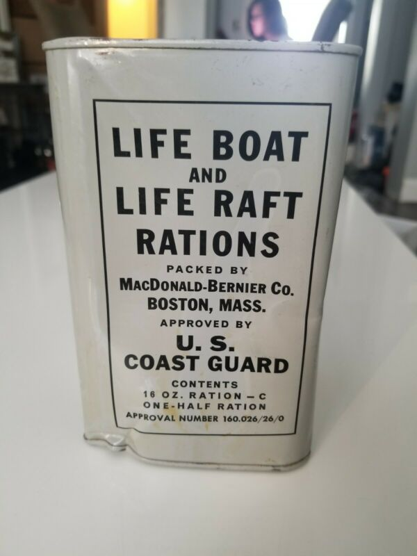 1957 US Coast Guard Rations vintage canister/tin dated original