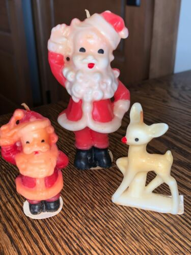 Vintage Gurley Novelty Christmas Candles Lrg Santa Sm Santa & Rudolph Reindeer