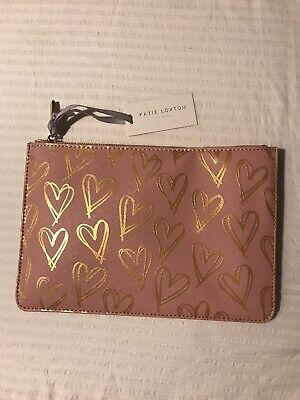 Katie Loxton Gold Hearts Pink Pouch evening Clutch bag BNWT