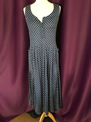 Vintage Laura Ashley Cotton Navy Dress Size 10