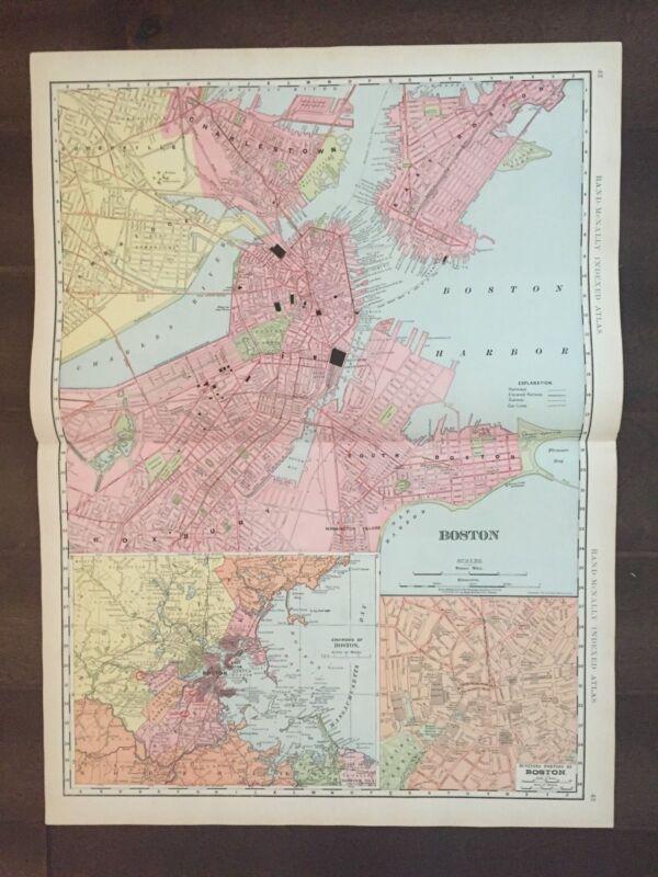 "Large 21"" X 28"" COLOR Rand McNally Map of Boston-1905"