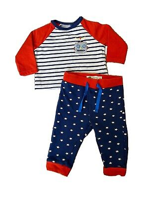 Mini Boden Baby Boy Robot Play Set Outfit Pants Top Size 3-6 Months GUC
