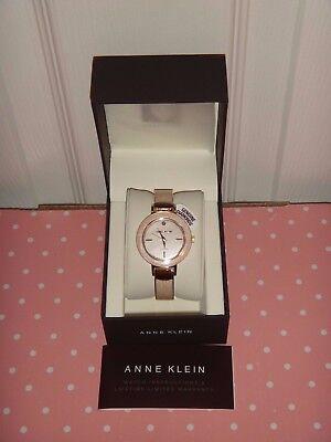 ANNE KLEIN Women's Gold Tone Pink Coral GENUINE DIAMOND Watch 35mm AK/2444PKGB