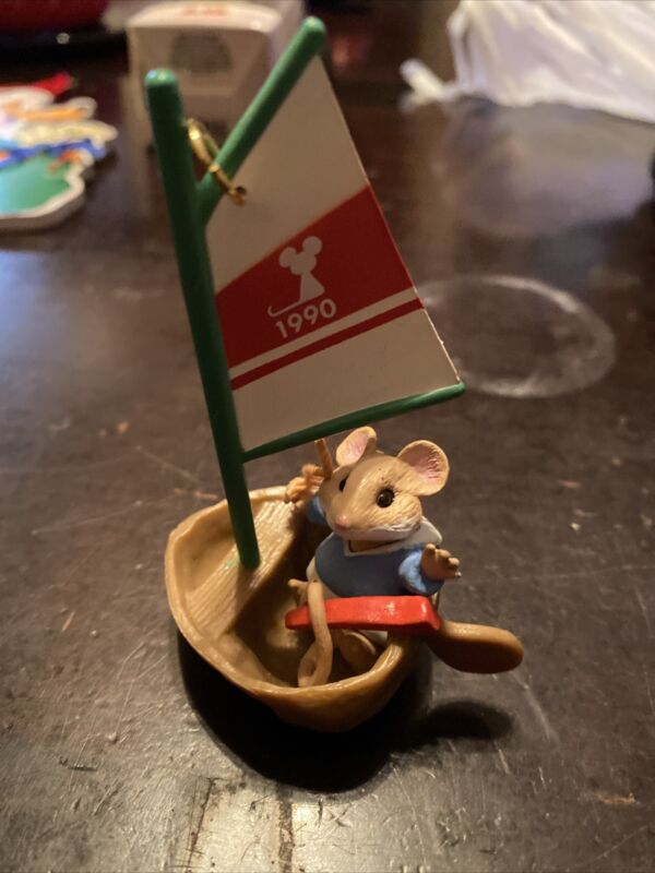 Hallmark MOUSEBOAT Christmas Ornament 1990 Mouse in Sailboat Vintage B18