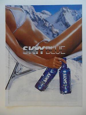 2002 Print Ad Sexy Girl Skyy Vodka ~ Snow Tan Blue