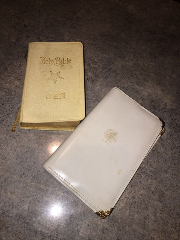 Vtg Holy Bible OES Order Of Eastern Star / Masonic Lodge 1941 And 1956 Ritual