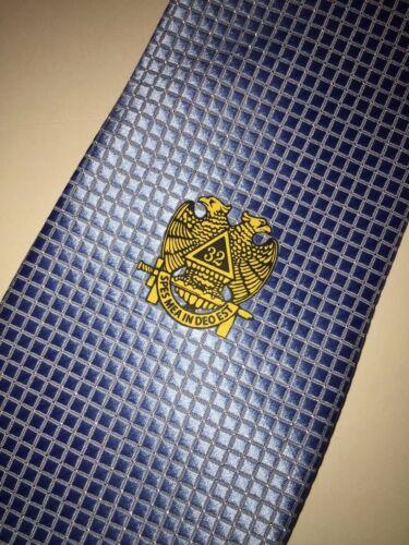 Masonic Woven Tie Light Blue Freemasons Master Scottish Rite 32nd Degree Necktie