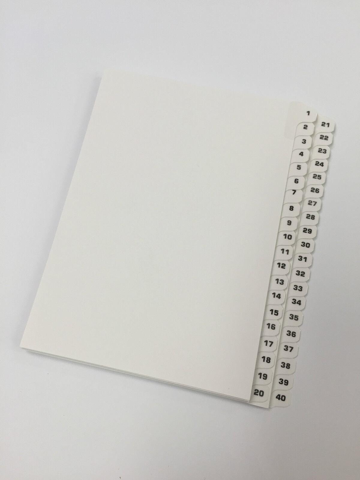 1-40 Divider tabs