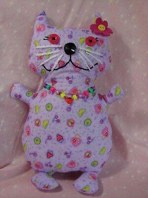 Kitty Cat Stuffed Animal Original Design Embroidered FaceHandmadeCotton 4 & up - Embroidered Stuffed Animals